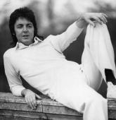 Pop singer and bass player Paul McCartney formerly of The Beatles sporting a fantastic mullet