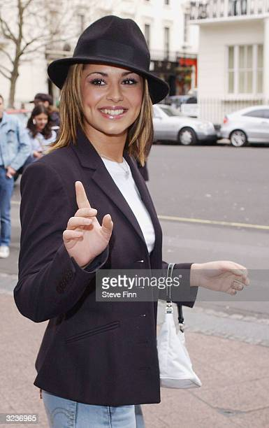 Pop singer Cherryl Tweedy from the pop band Girls Aloud arrives at the 'Capital FM Awards 2004' at the Royal Lancaster Hotel on April 7 2004 in...
