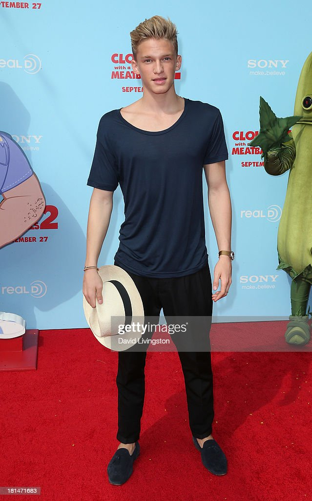 Pop singer <a gi-track='captionPersonalityLinkClicked' href=/galleries/search?phrase=Cody+Simpson&family=editorial&specificpeople=7068455 ng-click='$event.stopPropagation()'>Cody Simpson</a> attends the premiere of Columbia Pictures and Sony Pictures Animation's 'Cloudy with a Chance of Meatballs 2' at the Regency Village Theatre on September 21, 2013 in Westwood, California.