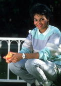 Pop singer Janet Jackson poses for a portrait session in August 1985 in Los Angeles California