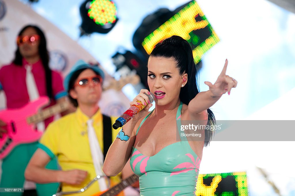 Pop singer Katy Perry performs at the unveiling of the new 2011 Volkswagen Jetta in New York, U.S., on Tuesday, June 15, 2010. Volkswagen AG plans to cut the U.S. price and increase the size of the Jetta compact car, its best-selling model in the country, as the automaker seeks to almost double sales in the market by 2012. Photographer: JB Reed/Bloomberg via Getty Images