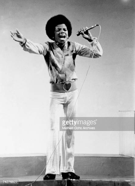 Pop singer Michael Jackson of the RB quintet 'Jackson 5' performs onstage in circa 1970