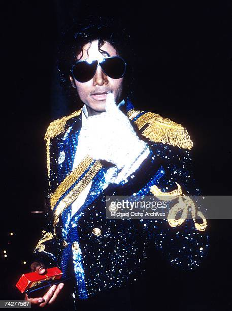 Pop singer Michael Jackson poses for a portrait after winning at the Grammys for the album Thriller on February 28 1984 in Los Angeles California