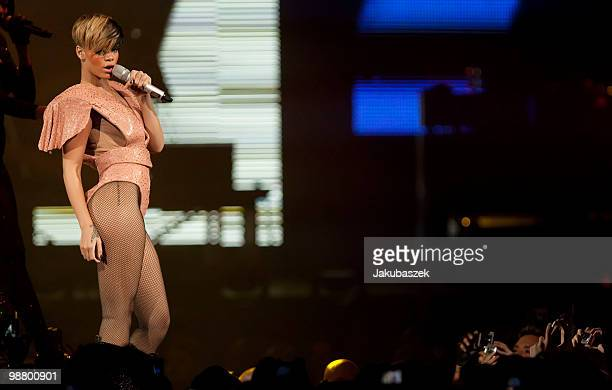 Pop singer Rihanna performs live during a concert at the O2 World on May 2 2010 in Berlin Germany The concert is part of the 2010 tour to promote the...