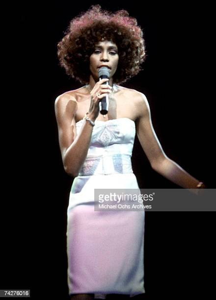 Pop singer Whitney Houston performs onstage in August 1987 in New York New York
