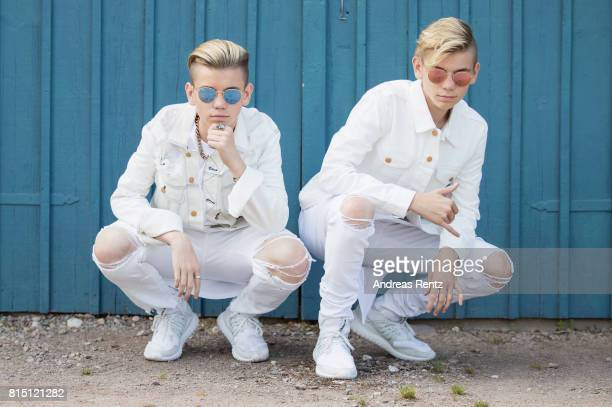 Pop singers Marcus Martinus pose for a portrait session before honouring Crown Princess Victoria on the ocassion of her 40th birthday at...