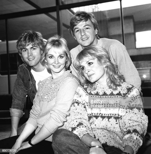 Pop singing foursome Bucks Fizz the winners of the Eurovision Song Contest at Heathrow Airport when they returned from Shannon after a week long tour...