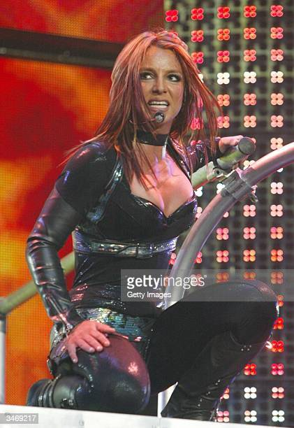 Pop star Britney Spears plays first night of her 'UK Onyx Hotel Tour 2004' at Wembley Arena on April 26 2004 in London The tour is her first UK tour...