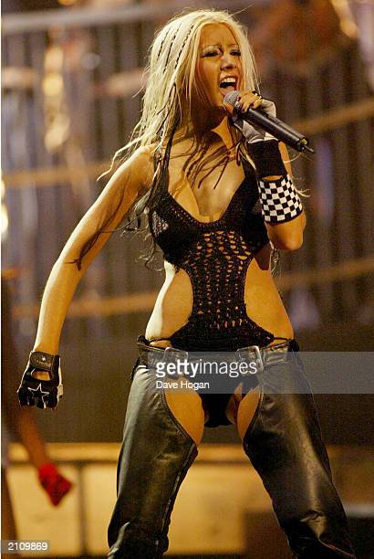 Pop star Christina Aguilera performs at 2002 MTV European Music Awards at Palau Sant Jordi Barcelona Spain on November 14 2002 UK PAPERS OUT