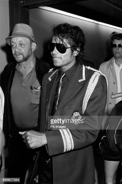 Pop star Michael Jackson arriving at Heathrow Airport The American singer's stay in Britain will include modelling for a Madame Tussaud's Waxworks...