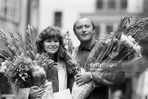 Pop star Phil Collins and actress Julie Walters at a photocall to promote their new film 'Buster' based on the 1963 Great Train Robbery