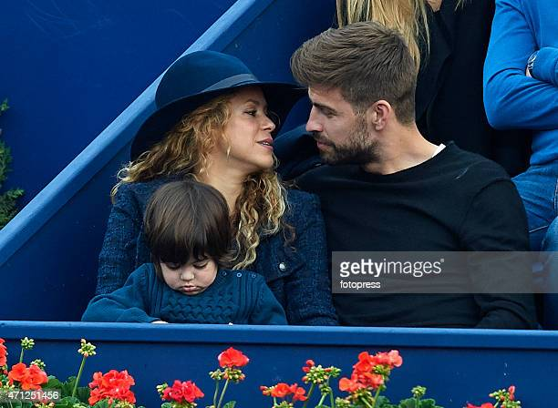 Pop star Shakira and husband Gerard Pique of FC Barcelona attend the final during day seven of the Barcelona Open Banc Sabadell at the Real Club de...