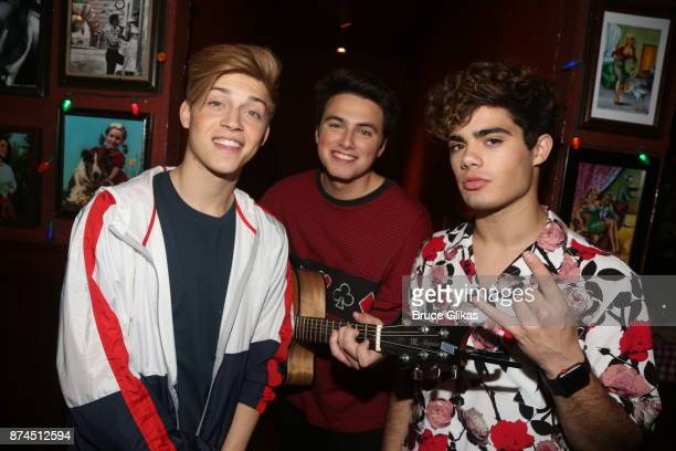 Pop Stars 'Forever In Your Mind' Ricky Garcia Liam Attridge and Emery Kelly Isaak Presley pose at Buca di Beppo Times Square on November 14 2017 in...