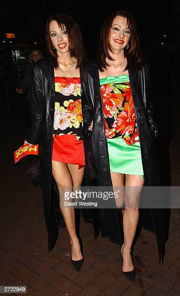 Pop Stars The Cheeky Girls attend a party for 'Let Your Tongue Travel' at Haagen Daz Cafe November 12 2003 in London England