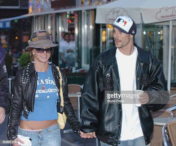 Pop superstar Britney Spears and new boyfriend Kevin Federline spend time together in Amsterdam on May 6 2004 in The Netherlands Federline is a...