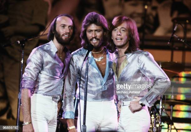 Pop vocal trio the Bee Gees performing at the Music for UNICEF Concert at the United Nations General Assembly in New York City January 1979 Left to...