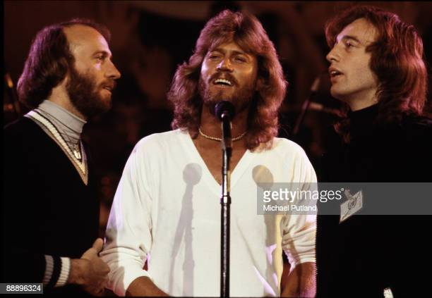 Pop vocal trio the Bee Gees rehearsing for the Music for UNICEF Concert at the United Nations General Assembly in New York City January 1979 Left to...
