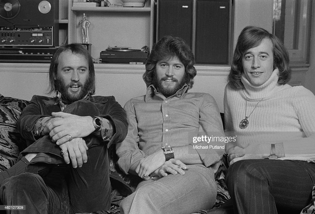 Pop vocal trio The Bee Gees, Windsor, Berkshire, February 1974. Left to right: Maurice Gibb (1949 - 2003), Barry Gibb and Robin Gibb (1949 - 2012).