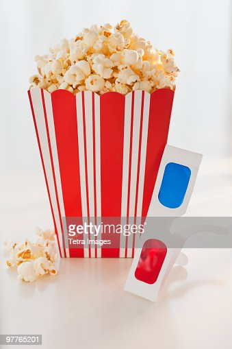 Popcorn and 3-d glasses