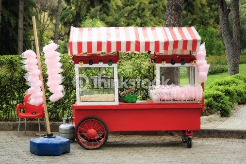Popcorn And Cotton Candy Vendors Cart Stock Photo Thinkstock