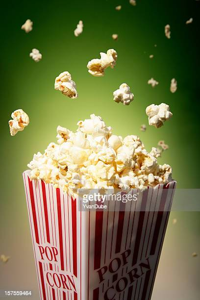 Popcorn and flying popcorn in a box used in movie theaters
