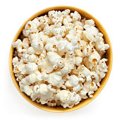 Popcorn bowl, top view isolated on white.