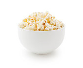 Popcorn bowl isolated on white (excluding the shadow)