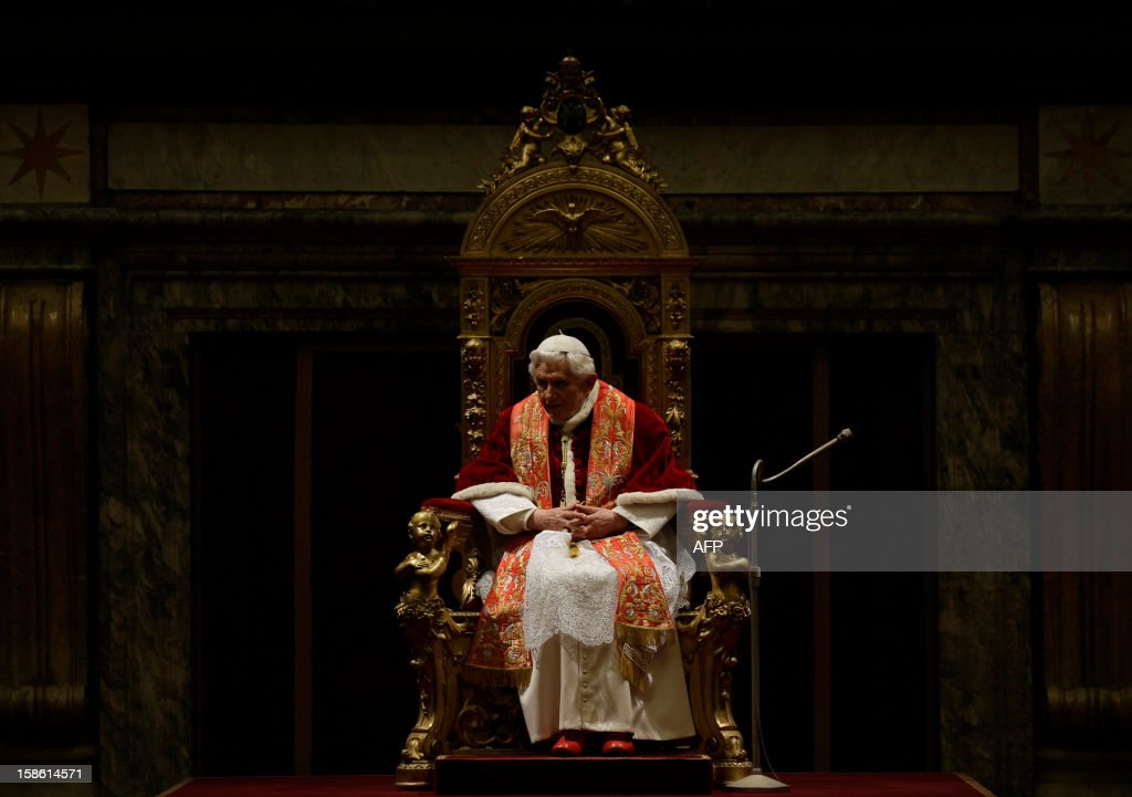 Pope Benedict XVI addresses his greetings to the Roman curia in the Clementine hall at the Vatican on December 21, 2012 at the Vatican.