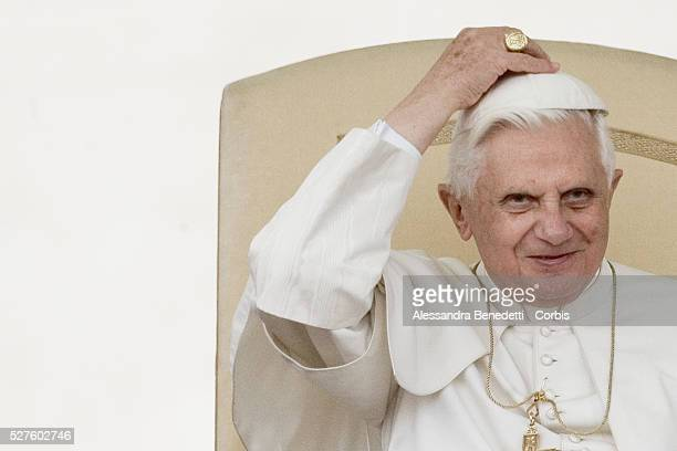 Pope Benedict XVI adjustes his Papal skull during his general weekly audience in St Peter's Square at the Vatican Pope Benedict XVI is due to...