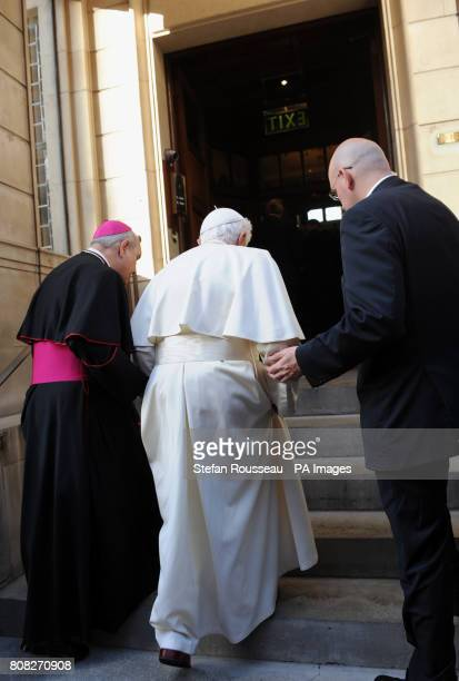 Pope Benedict XVI arrives at Archbishop's House near Westminster Cathedral in central London for meetings with Prime Minister David Cameron Deputy...