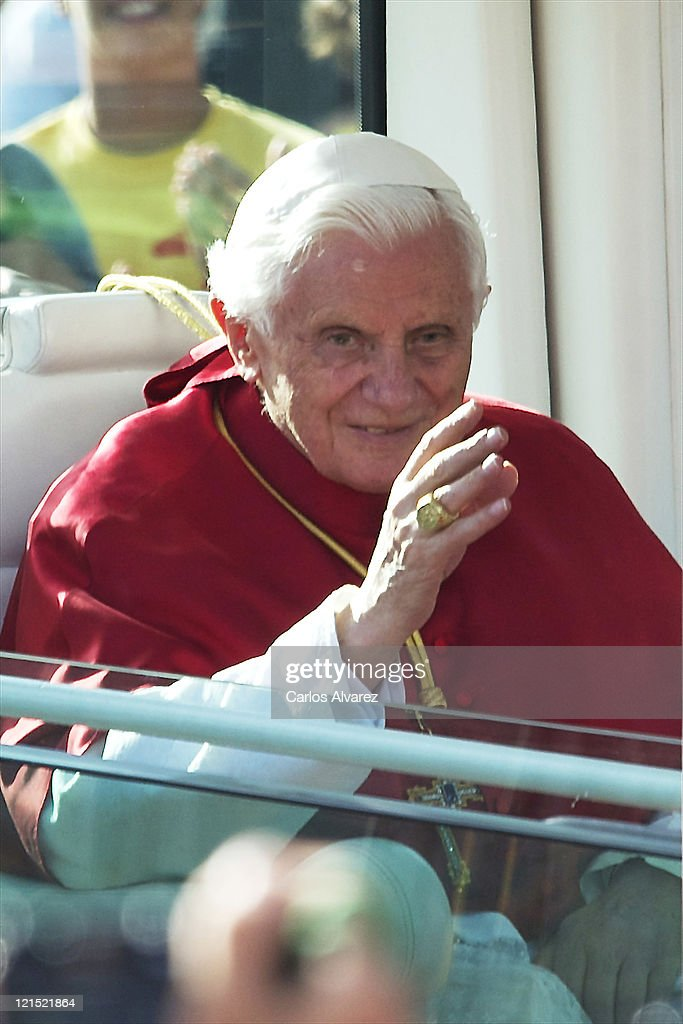 <a gi-track='captionPersonalityLinkClicked' href=/galleries/search?phrase=Pope+Benedict+XVI&family=editorial&specificpeople=201771 ng-click='$event.stopPropagation()'>Pope Benedict XVI</a> arrives at the Almudena Cathedral to celebrate a mass for seminarians on August 20, 2011 in Madrid, Spain. Initiated by Pope John Paul II in 1985, World Youth Day youth-oriented events for the celebration of the Catholic faith are held every three years in a different country; this time in Madrid from August 16th to 21st, with <a gi-track='captionPersonalityLinkClicked' href=/galleries/search?phrase=Pope+Benedict+XVI&family=editorial&specificpeople=201771 ng-click='$event.stopPropagation()'>Pope Benedict XVI</a> in attendance.