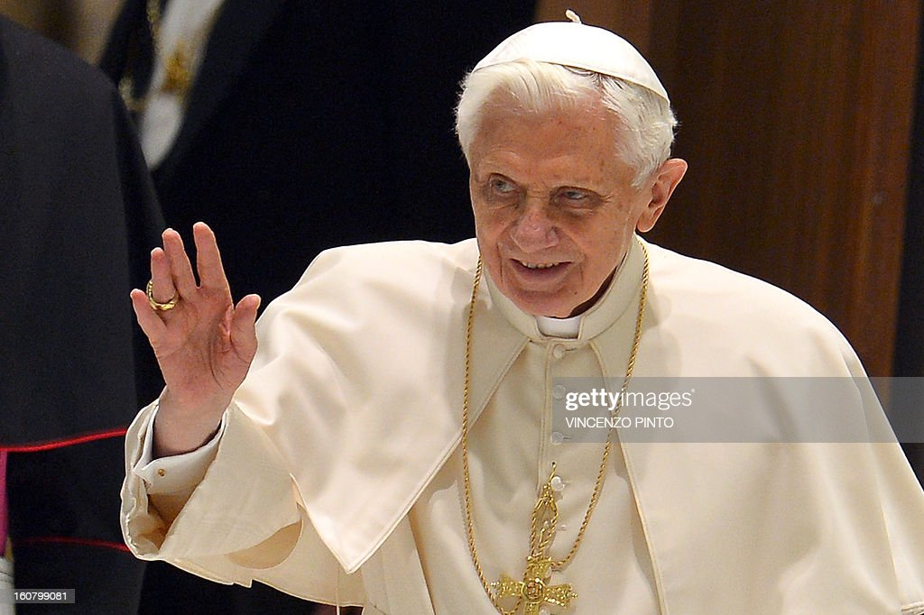 Pope Benedict XVI arrives for the weekly general audience on February 6, 2013 at the Paul VI hall at the Vatican.