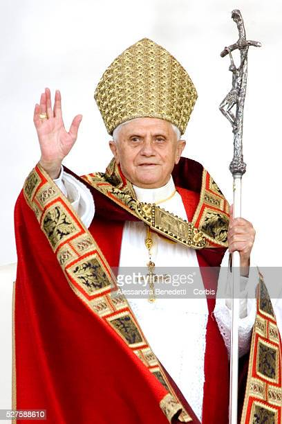 Pope Benedict XVI arrives to lead a meeting with ecclesial movements and new Catholic communities during the Vigil of Pentecost in St Peter's Square...