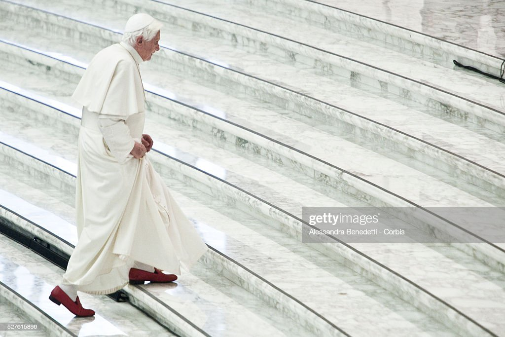 Pope Benedict XVI arrives to lead a special audience with the Italian Civil Protection department at Paul VI Hall at the Vatican