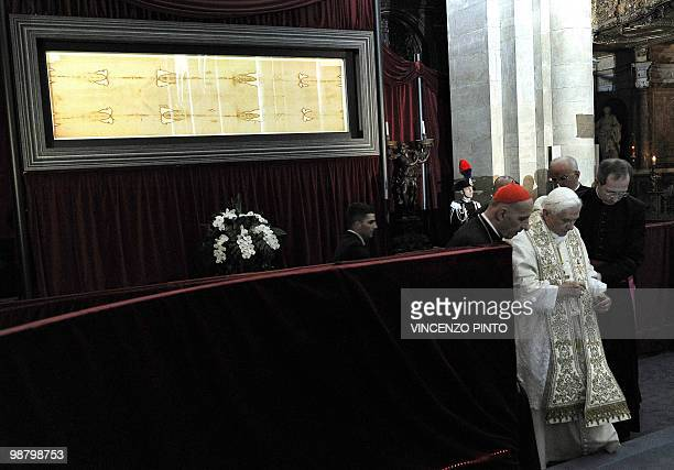 Pope Benedict XVI arrives to pray in front of the Shroud in the Turin cathedral on May 2 2010 Pope Benedict XVI will bow before the Shroud of Turin...