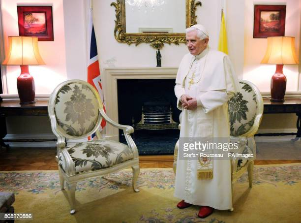 Pope Benedict XVI at Archbishop's House near Westminster Cathedral in central London as he awaits the arrival of Prime Minister David Cameron Deputy...