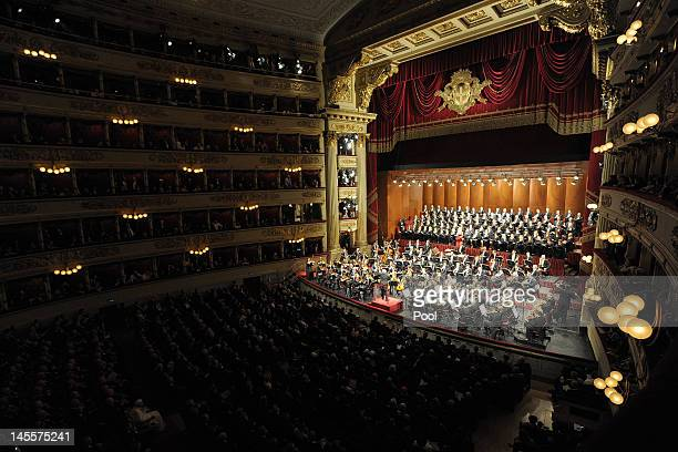 Pope Benedict XVI attends a concert at La Scala Theater on June 1 2012 in Milan Italy Pope Benedict XVI is on a three day trip to Milan to attend...