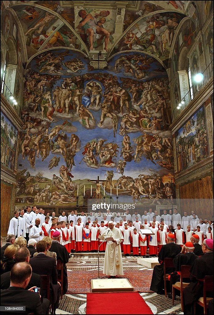 Pope Benedict XVI attends a concert by the Regensburger Domspatzen boys choir with his brother <a gi-track='captionPersonalityLinkClicked' href=/galleries/search?phrase=Georg+Ratzinger&family=editorial&specificpeople=641406 ng-click='$event.stopPropagation()'>Georg Ratzinger</a> at the Sistine Chapel in the Vatican in Rome, Italy on October 22nd, 2005.