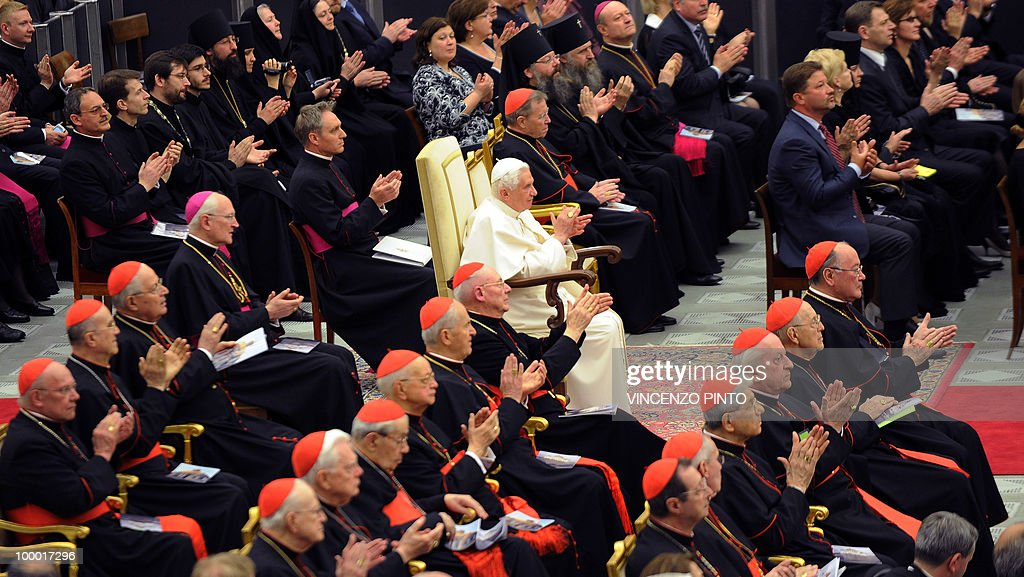Pope Benedict XVI attends a concert offered by Russian Patriarch Kirill I in the Paolo VI hall at the Vatican on May 20, 2010, to mark the Russian day of culture and spirituality.