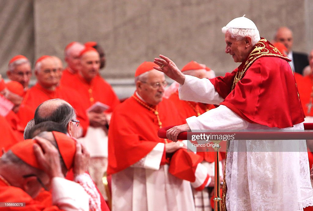 <a gi-track='captionPersonalityLinkClicked' href=/galleries/search?phrase=Pope+Benedict+XVI&family=editorial&specificpeople=201771 ng-click='$event.stopPropagation()'>Pope Benedict XVI</a> attends a concistory in Saint Peter's Basilica on November 24, 2012 in Vatican City, Vatican. The Pontiff installed 6 new cardinals during the ceremony, who will be responsible for choosing his successor.