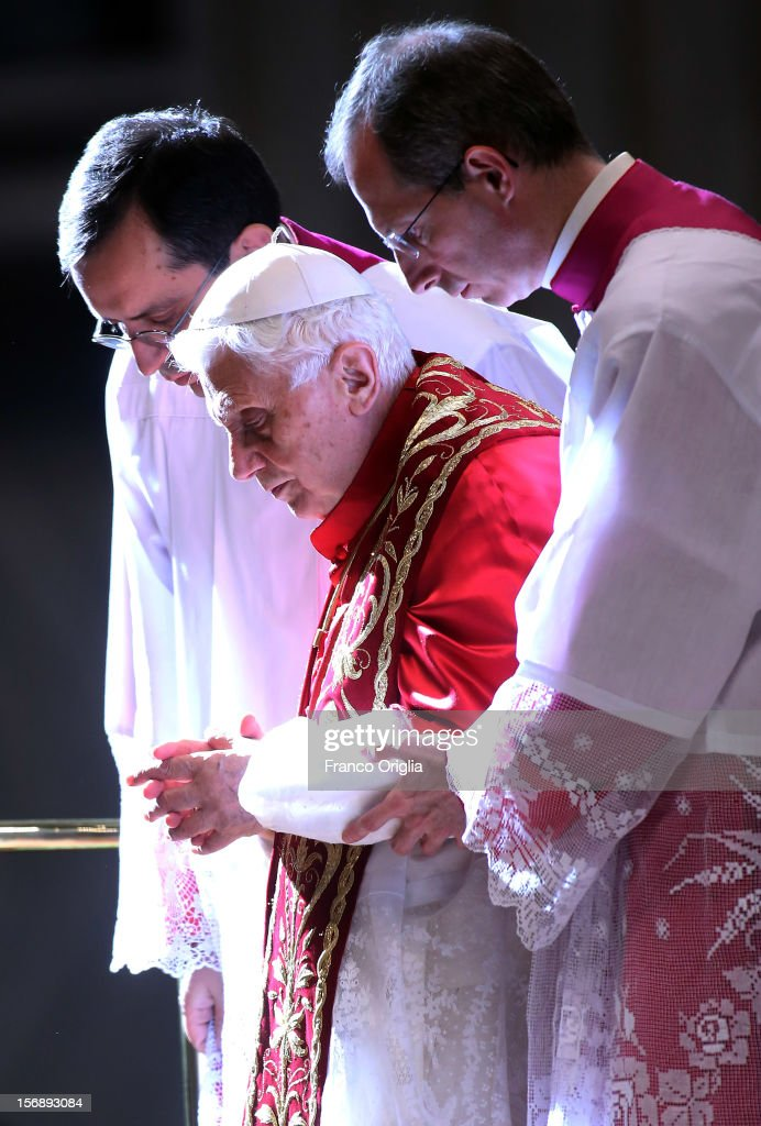 Pope Benedict XVI attends a concistory in Saint Peter's Basilica on November 24, 2012 in Vatican City, Vatican. The Pontiff installed 6 new cardinals during the ceremony, who will be responsible for choosing his successor.
