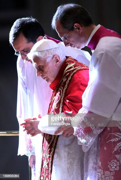Pope Benedict XVI attends a concistory in Saint Peter's Basilica on November 24 2012 in Vatican City Vatican The Pontiff installed 6 new cardinals...