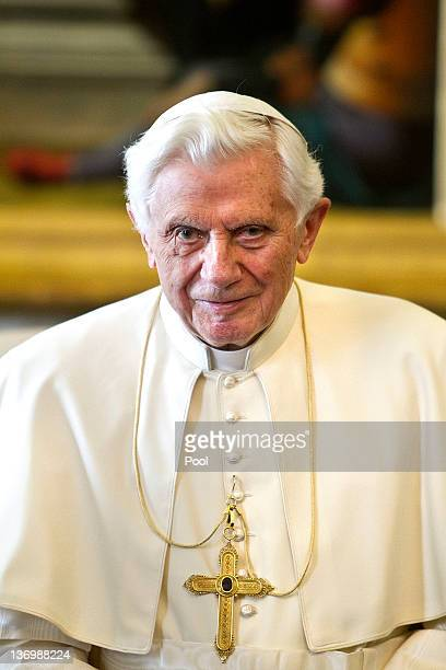 Pope Benedict XVI attends a meeting with Italian Prime Minister Mario Monti at his private library on January 14 2012 in Vatican City Vatican This is...