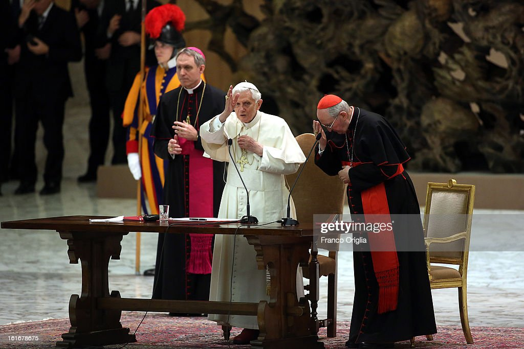 <a gi-track='captionPersonalityLinkClicked' href=/galleries/search?phrase=Pope+Benedict+XVI&family=editorial&specificpeople=201771 ng-click='$event.stopPropagation()'>Pope Benedict XVI</a> attends a meeting with parish priests of Rome's diocese at the Paul VI Hall on February 14, 2013 in Vatican City, Vatican. The Pontiff will hold his last weekly public audience on February 27 at St Peter's Square after announcing his resignation earlier this week. (Photo by Franco Origlia/Getty Images).