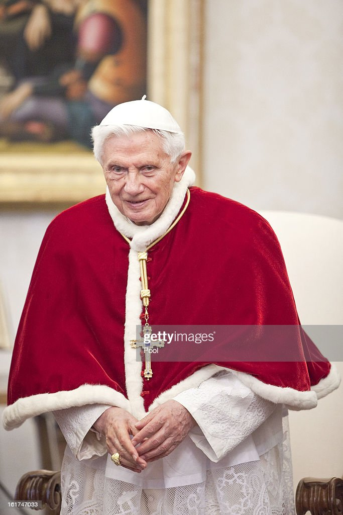 <a gi-track='captionPersonalityLinkClicked' href=/galleries/search?phrase=Pope+Benedict+XVI&family=editorial&specificpeople=201771 ng-click='$event.stopPropagation()'>Pope Benedict XVI</a> attends an audience with President of Romania Traian Basescu at his private library on February 15, 2013 in Vatican City, Vatican.