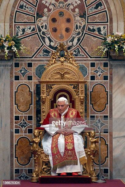 Pope Benedict XVI attends his annual meeting with Holy See Diplomats at the Hall of the Throne on January 9 2012 in Vatican City Vatican During his...