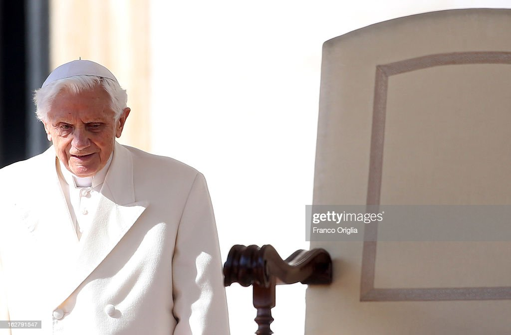 Pope Benedict XVI attends his final general audience in St. Peter's Square on February 27, 2013 in Vatican City, Vatican. The Pontiff attended his last weekly public audience before stepping down tomorrow. Pope Benedict XVI has been the leader of the Catholic Church for eight years and is the first Pope to retire since 1415. He cites ailing health as his reason for retirement and will spend the rest of his life in solitude away from public engagements.