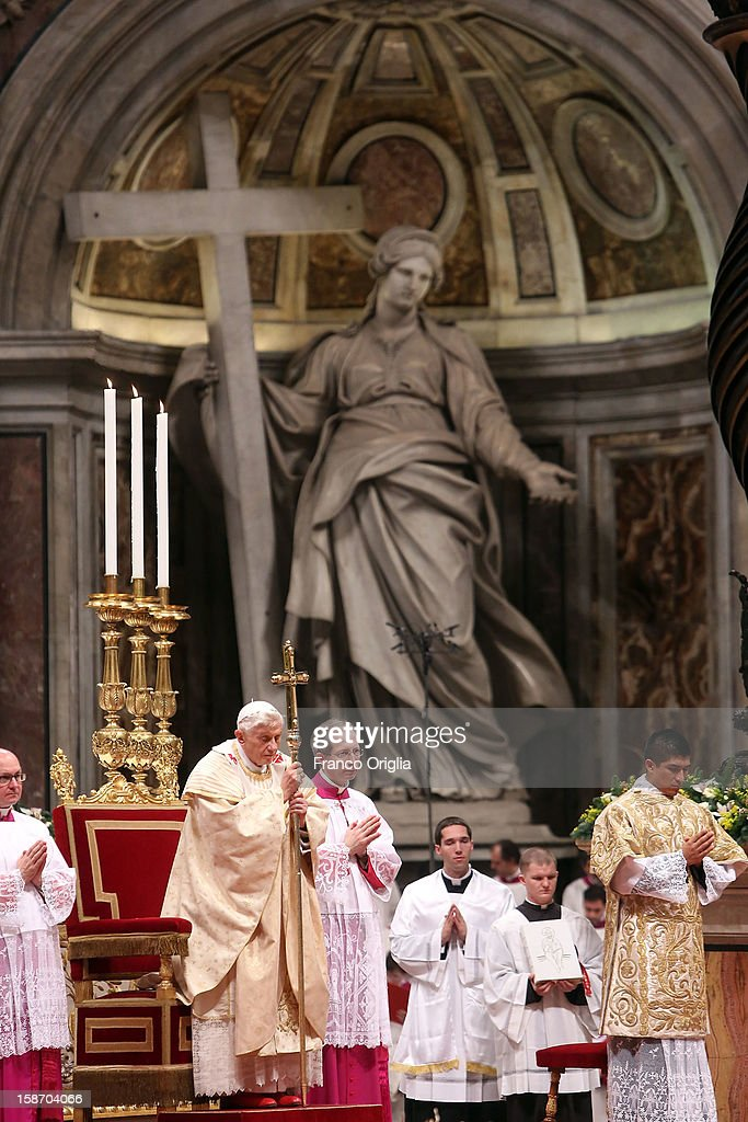 <a gi-track='captionPersonalityLinkClicked' href=/galleries/search?phrase=Pope+Benedict+XVI&family=editorial&specificpeople=201771 ng-click='$event.stopPropagation()'>Pope Benedict XVI</a> attends the Christmas night mass at the St. Peter's Basilica on December 24, 2012 in Vatican City, Vatican.