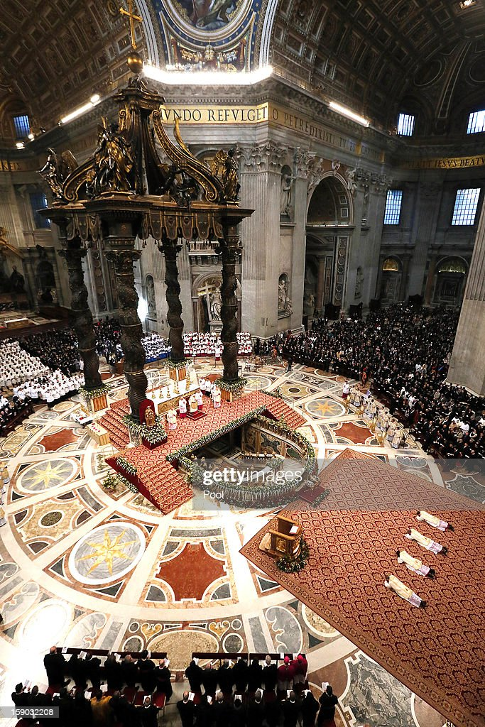 <a gi-track='captionPersonalityLinkClicked' href=/galleries/search?phrase=Pope+Benedict+XVI&family=editorial&specificpeople=201771 ng-click='$event.stopPropagation()'>Pope Benedict XVI</a> attends the Epiphany Mass at the St. Peter's Basilica on January 6, 2013 in Vatican City, Vatican. During the ceremony the pontiff named four new bishops including his personal secretary Georg Gaenswein.