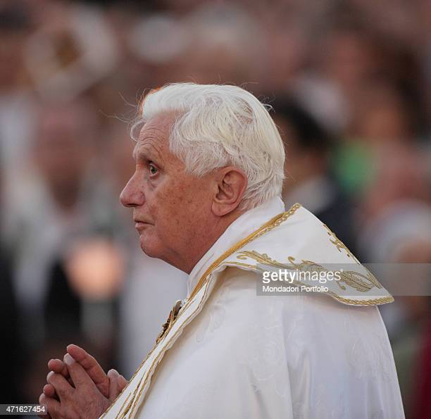'Pope Benedict XVI carrying on procession the Blessed Sacrament toward the Basilica of Saint Mary Major after he celebrated the Holy Mass on the...